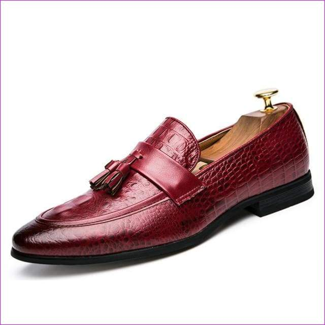 Leather italian formal snake fish skin dress office footwear luxury elegant oxford shoes for men - Red / 6.5 - Mens Shoes