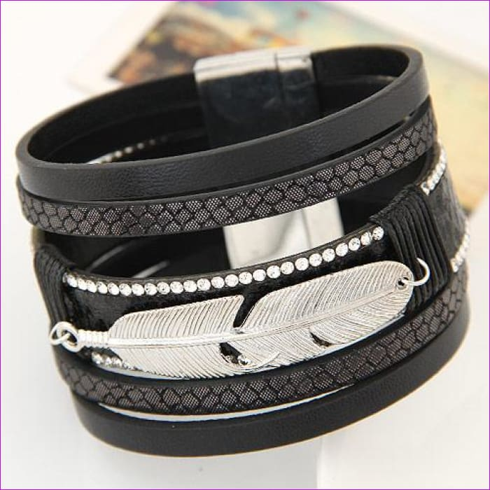 LEMOER Fashion Alloy Feather Leaves Wide Magnetic Leather bracelets & bangles Multilayer Bracelets Jewelry for Women Men Gift - black -