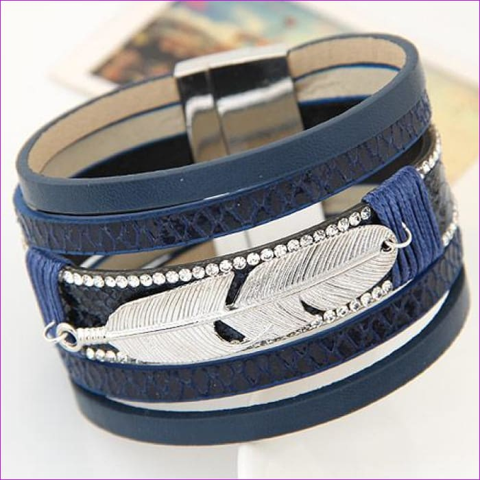 LEMOER Fashion Alloy Feather Leaves Wide Magnetic Leather bracelets & bangles Multilayer Bracelets Jewelry for Women Men Gift - blue -