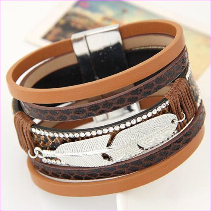 LEMOER Fashion Alloy Feather Leaves Wide Magnetic Leather bracelets & bangles Multilayer Bracelets Jewelry for Women Men Gift - brown -