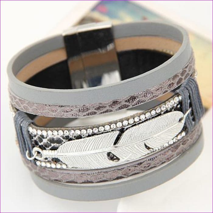LEMOER Fashion Alloy Feather Leaves Wide Magnetic Leather bracelets & bangles Multilayer Bracelets Jewelry for Women Men Gift - grey -