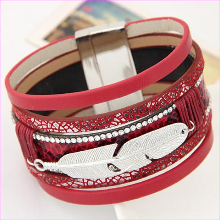 LEMOER Fashion Alloy Feather Leaves Wide Magnetic Leather bracelets & bangles Multilayer Bracelets Jewelry for Women Men Gift - red -