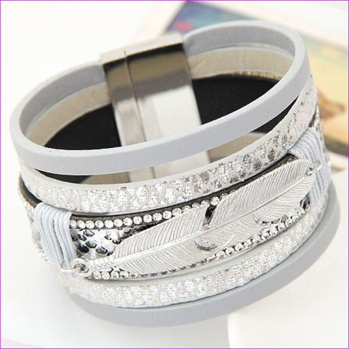 LEMOER Fashion Alloy Feather Leaves Wide Magnetic Leather bracelets & bangles Multilayer Bracelets Jewelry for Women Men Gift - silver grey