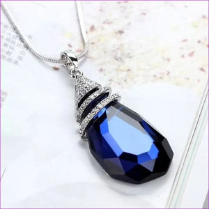 Long Necklaces & Pendants for Women Collier Femme Geometric Statement Crystal Jewelry - Blue Drop - Pendants Pendants