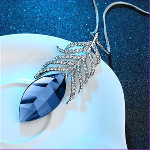 Long Necklaces & Pendants for Women Collier Femme Geometric Statement Crystal Jewelry - Blue Feather - Pendants Pendants
