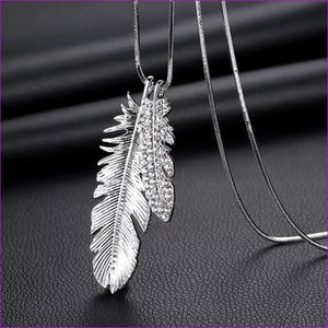 Long Necklaces & Pendants for Women Collier Femme Geometric Statement Crystal Jewelry - Feather - Pendants Pendants