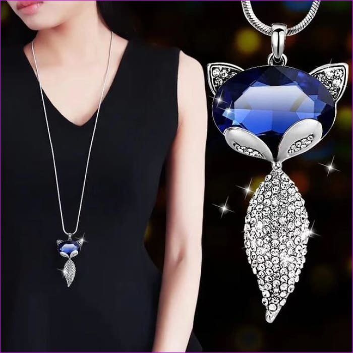 Long Necklaces & Pendants for Women Collier Femme Geometric Statement Crystal Jewelry - Fox - Pendants Pendants