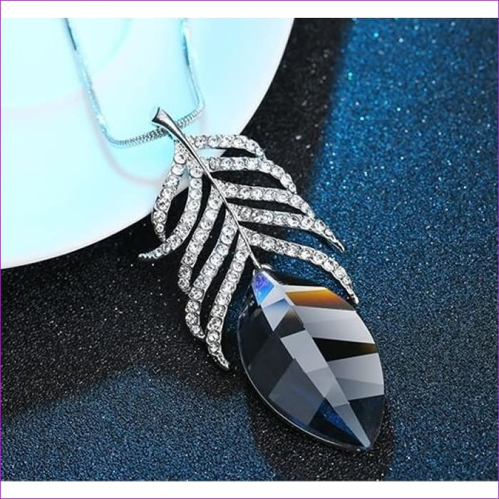 Long Necklaces & Pendants for Women Collier Femme Geometric Statement Crystal Jewelry - Grey Feather - Pendants Pendants