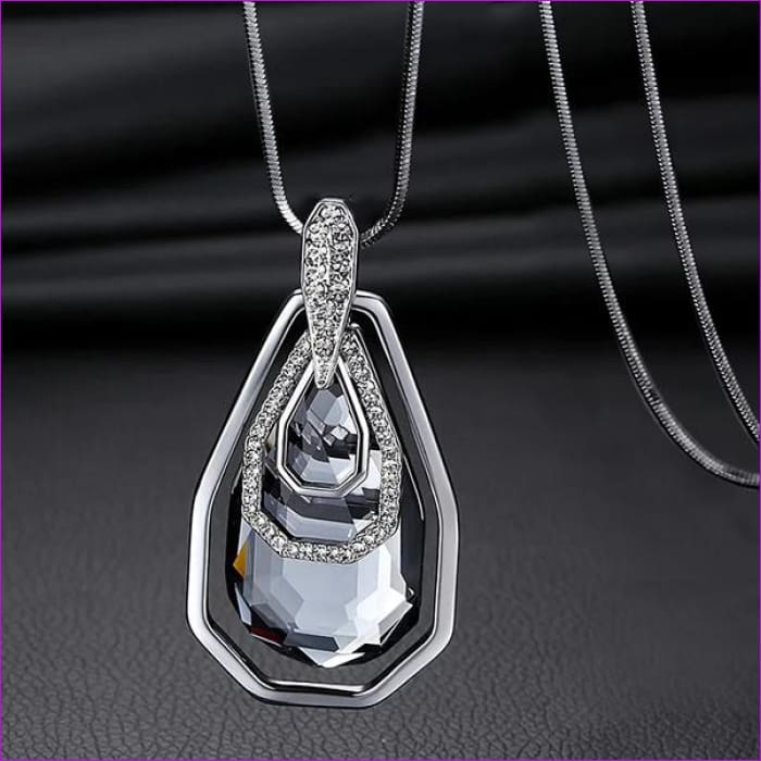 Long Necklaces & Pendants for Women Collier Femme Geometric Statement Crystal Jewelry - Irragular square - Pendants Pendants