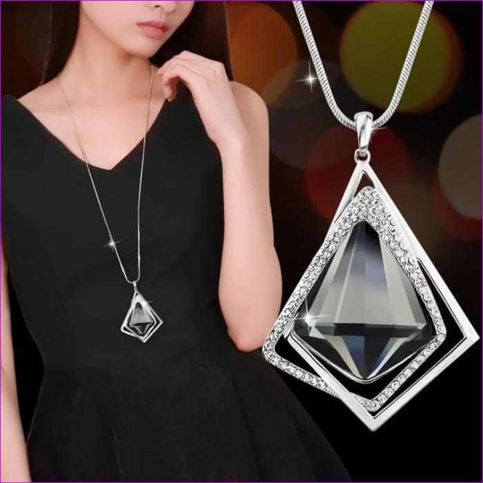 Long Necklaces & Pendants for Women Collier Femme Geometric Statement Crystal Jewelry - Geometric - Pendants Pendants