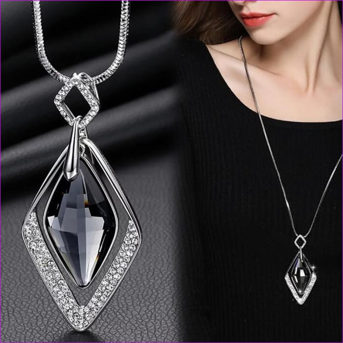 Long Necklaces & Pendants for Women Collier Femme Geometric Statement Crystal Jewelry - Pendants Pendants