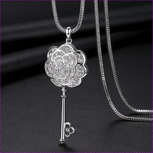 Long Necklaces & Pendants for Women Collier Femme Geometric Statement Crystal Jewelry - Key - Pendants Pendants