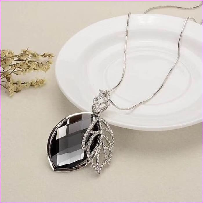 Long Necklaces & Pendants for Women Collier Femme Geometric Statement Crystal Jewelry - Leaf Oval - Pendants Pendants