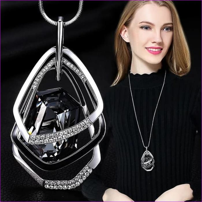Long Necklaces & Pendants for Women Collier Femme Geometric Statement Crystal Jewelry - Polygon - Pendants Pendants