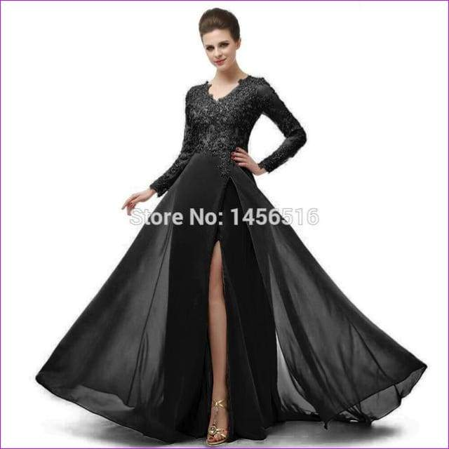 Long Sleeve A Line V Neck Chiffon Lace Beaded Long Evening Dresses Robe - Black / 6 - Evening Dresses