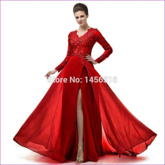 Long Sleeve A Line V Neck Chiffon Lace Beaded Long Evening Dresses Robe - Burgundy / 6 - Evening Dresses