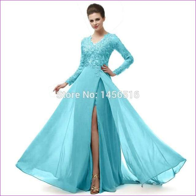 Long Sleeve A Line V Neck Chiffon Lace Beaded Long Evening Dresses Robe - Evening Dresses