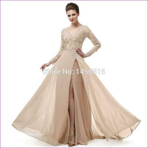 Long Sleeve A Line V Neck Chiffon Lace Beaded Long Evening Dresses Robe - Champagne / 6 - Evening Dresses
