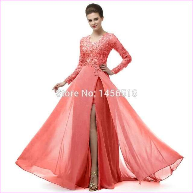 Long Sleeve A Line V Neck Chiffon Lace Beaded Long Evening Dresses Robe - Coral / 6 - Evening Dresses