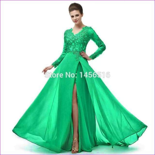 Long Sleeve A Line V Neck Chiffon Lace Beaded Long Evening Dresses Robe - Green / 6 - Evening Dresses