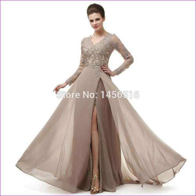 Long Sleeve A Line V Neck Chiffon Lace Beaded Long Evening Dresses Robe - Khaki / 6 - Evening Dresses
