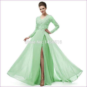 Long Sleeve A Line V Neck Chiffon Lace Beaded Long Evening Dresses Robe - Light green / 6 - Evening Dresses