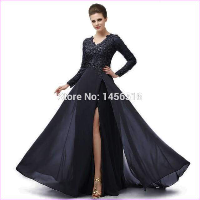 Long Sleeve A Line V Neck Chiffon Lace Beaded Long Evening Dresses Robe - Navy blue / 6 - Evening Dresses