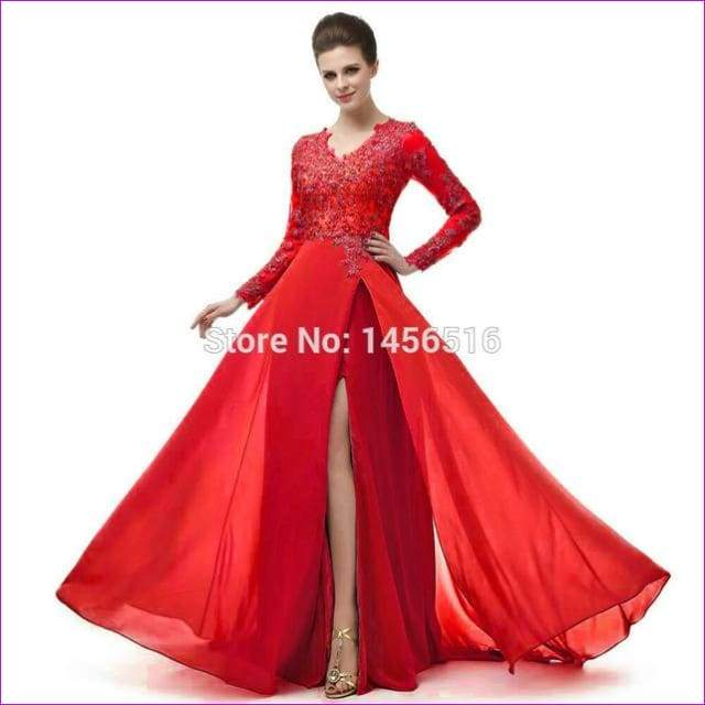Long Sleeve A Line V Neck Chiffon Lace Beaded Long Evening Dresses Robe - Red / 6 - Evening Dresses