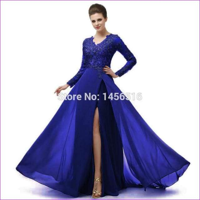 Long Sleeve A Line V Neck Chiffon Lace Beaded Long Evening Dresses Robe - Royal blue / 6 - Evening Dresses