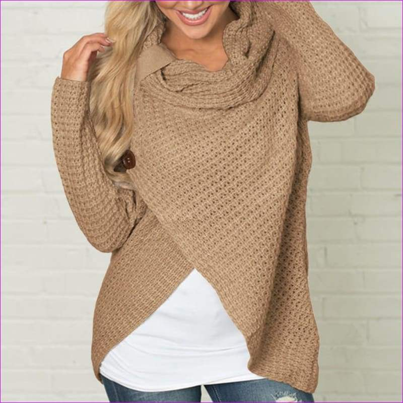 Long Sleeve o neck Solid girl Sweater Pullover Women sweater knitted Tops Blouse - Khaki / S - Womens Sweaters