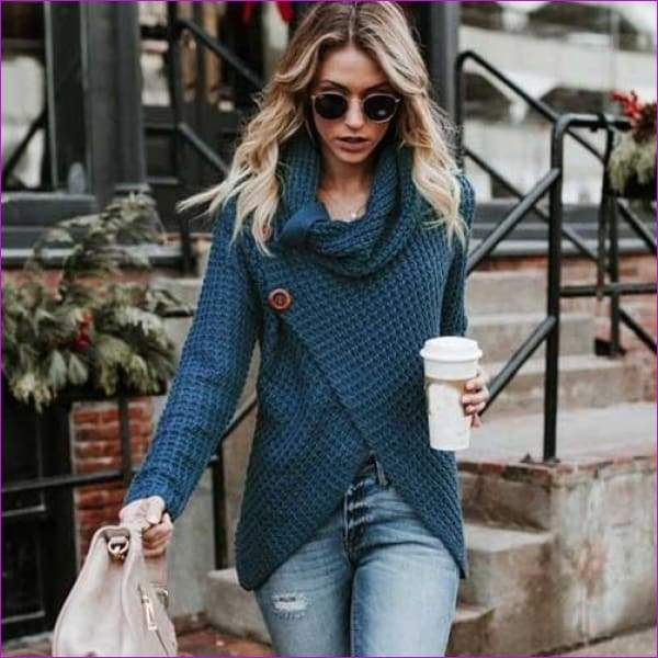 Long Sleeve o neck Solid girl Sweater Pullover Women sweater knitted Tops Blouse - Peacock Blue / S - Womens Sweaters