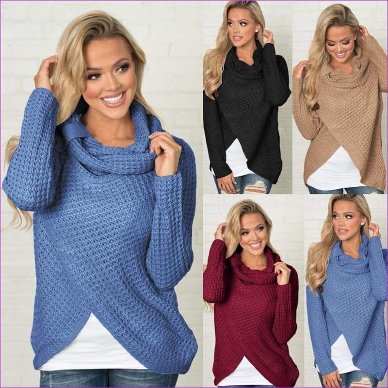 Long Sleeve o neck Solid girl Sweater Pullover Women sweater knitted Tops Blouse - Womens Sweaters