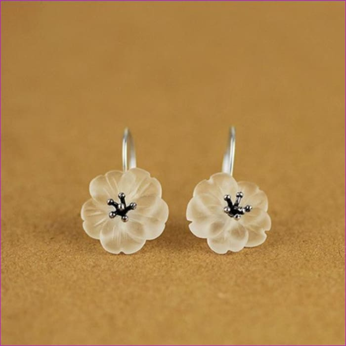 Lotus 925 Sterling Silver Handmade Natural Drop Earrings - Antique Silver Color - Drop Earrings Drop Earrings Sterling