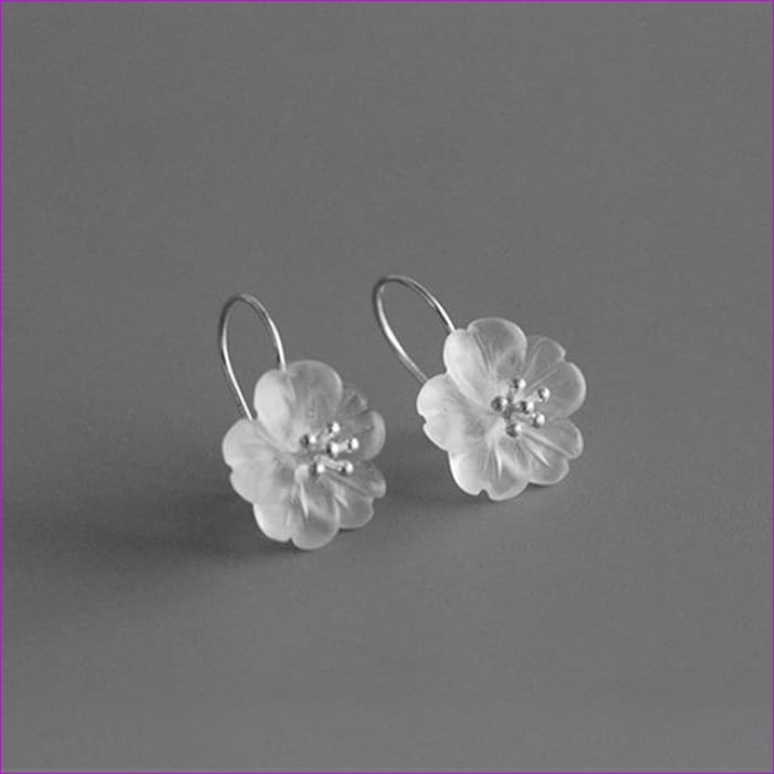 Lotus 925 Sterling Silver Handmade Natural Drop Earrings - Silver Color - Drop Earrings Drop Earrings Sterling