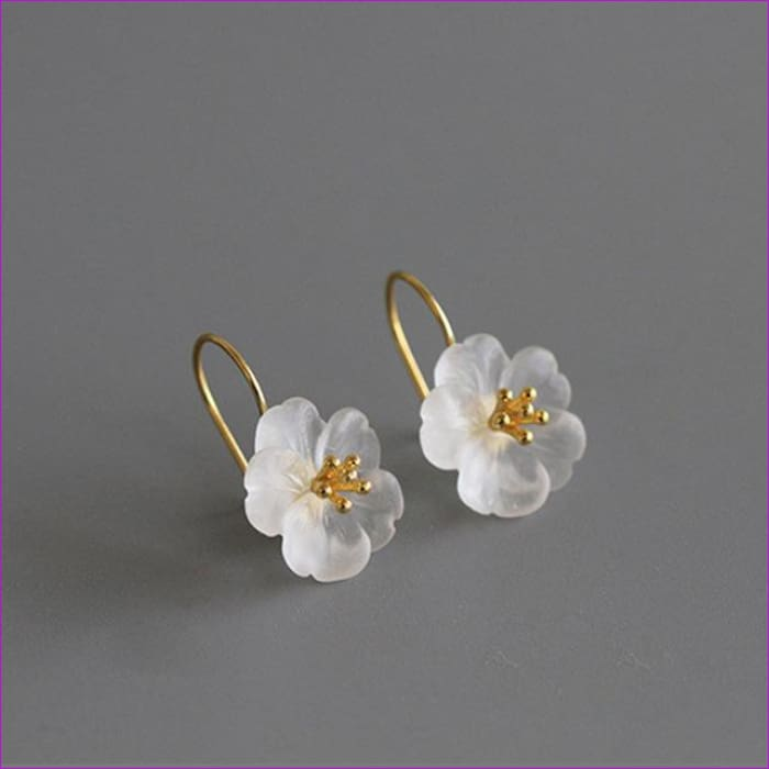 Lotus 925 Sterling Silver Handmade Natural Drop Earrings - Gold Color - Drop Earrings Drop Earrings Sterling