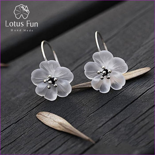 Lotus 925 Sterling Silver Handmade Natural Drop Earrings - Drop Earrings Drop Earrings Sterling
