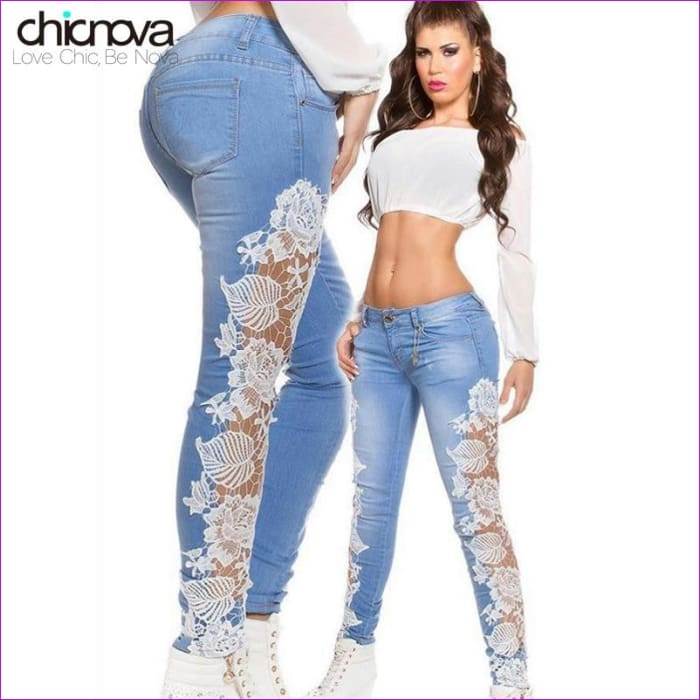 Low waist Lace Cut Out washed Denim Jeans Hollow out Crochet pencil Pants - Jeans Jeans