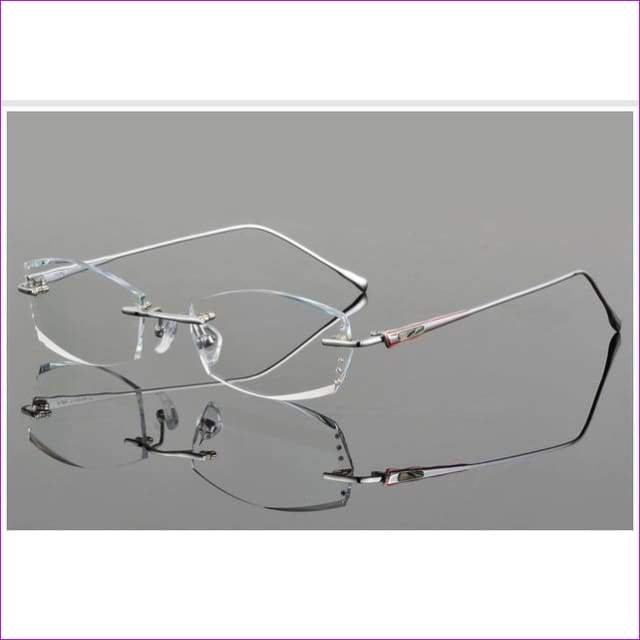 Luxury Eyeglasses Rimless Women Myopia Prescription Eye Glasses Diopter Rhinestone High Clear Lenses Gold Ladies Reading Eyewear - Black