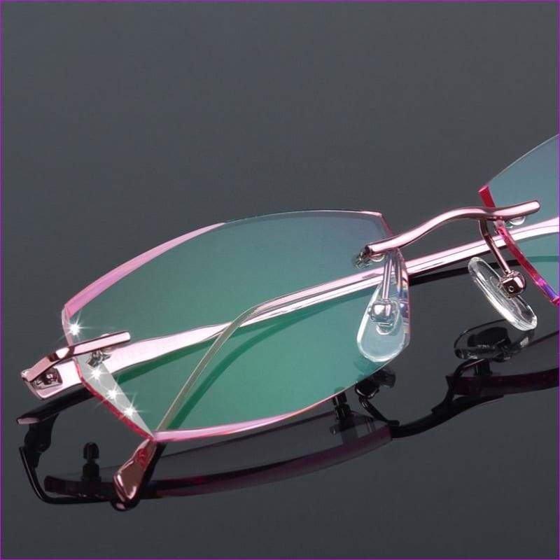 Luxury Eyeglasses Rimless Women Myopia Prescription Eye Glasses Diopter Rhinestone High Clear Lenses Gold Ladies Reading Eyewear
