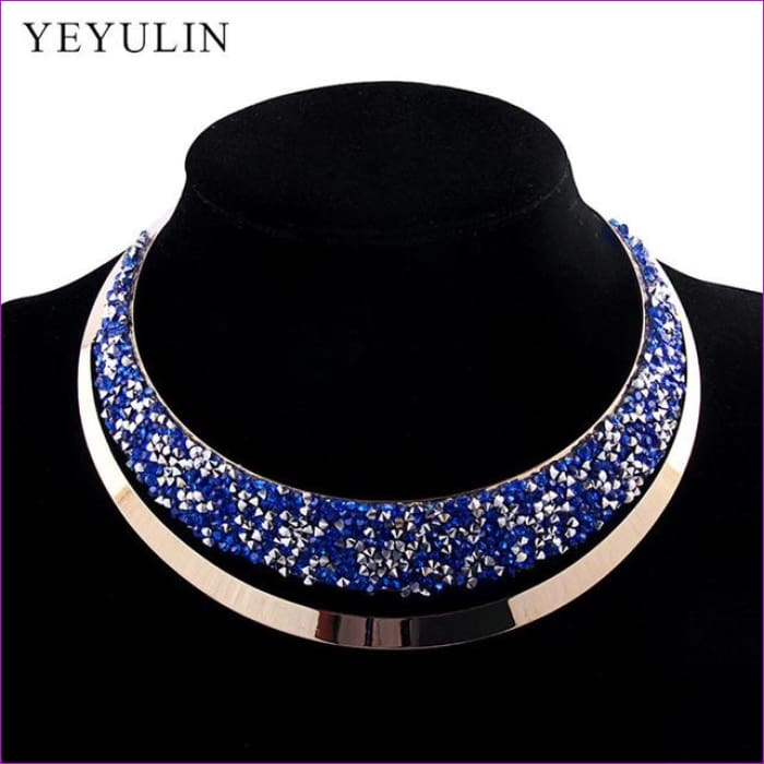 Luxury Full Crystal Choker Necklace Exaggerated Maxi Statement Choker Collar Necklaces Bijoux Jewelry For Women - A - Necklaces Necklaces