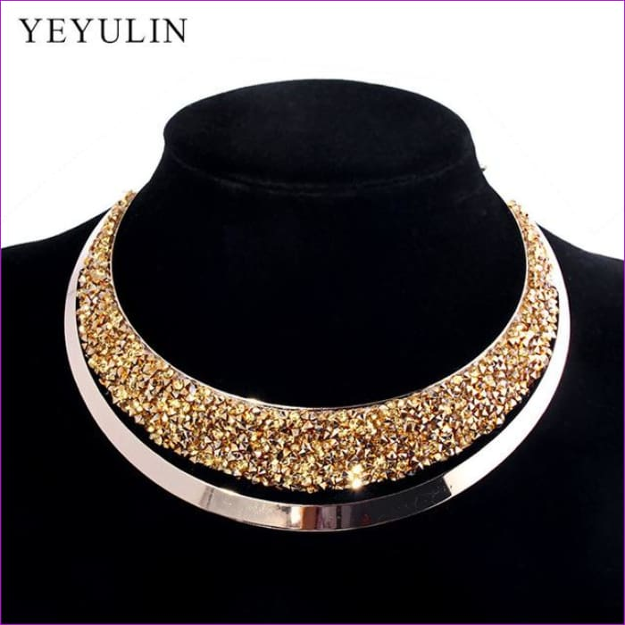 Luxury Full Crystal Choker Necklace Exaggerated Maxi Statement Choker Collar Necklaces Bijoux Jewelry For Women - B - Necklaces Necklaces