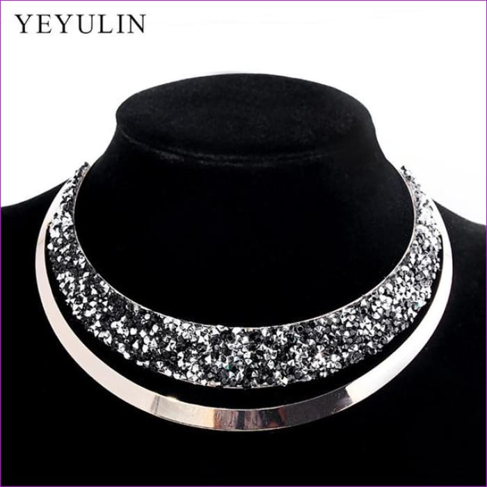 Luxury Full Crystal Choker Necklace Exaggerated Maxi Statement Choker Collar Necklaces Bijoux Jewelry For Women - C - Necklaces Necklaces