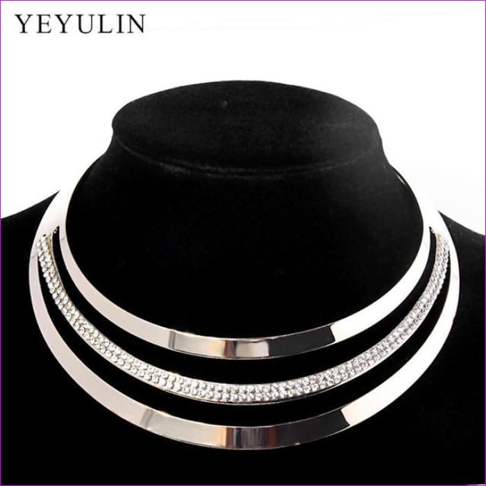 Luxury Full Crystal Choker Necklace Exaggerated Maxi Statement Choker Collar Necklaces Bijoux Jewelry For Women - D - Necklaces Necklaces