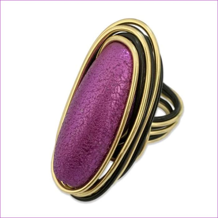 MANILAI Bohemian Handmade Metal Wire Purple Acryl Big Rings For Women Statement Jewelry Fashion Finger Rings Vintage Accessories - 11 /