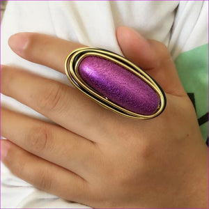 MANILAI Bohemian Handmade Metal Wire Purple Acryl Big Rings For Women Statement Jewelry Fashion Finger Rings Vintage Accessories - Womens