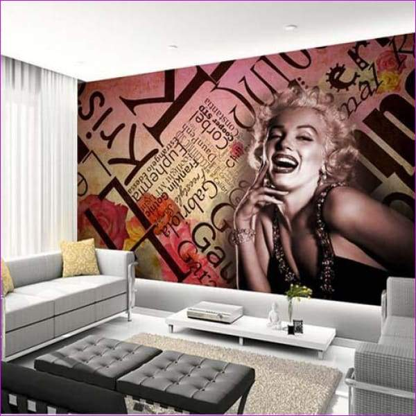 Marilyn Monroe Wallpaper Embossed Wall Art Nostalgic KTV Bedroom Background Wall Covering Vintage - Wall Art