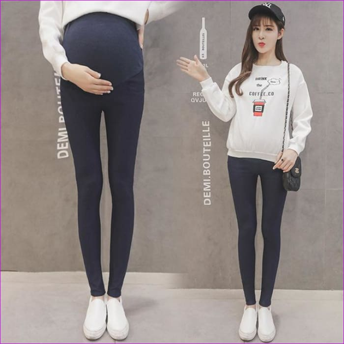 Maternity Pencil Pants for pregnant Skinny leg pregnancy clothes maternity clothes clothing leggings for pregnant winter wear - Dark Blue /