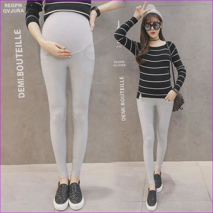 Maternity Pencil Pants for pregnant Skinny leg pregnancy clothes maternity clothes clothing leggings for pregnant winter wear - Light Gray /