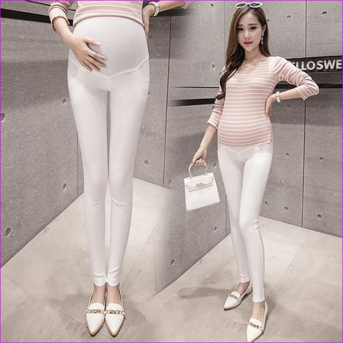 Maternity Pencil Pants for pregnant Skinny leg pregnancy clothes maternity clothes clothing leggings for pregnant winter wear - White / XL -