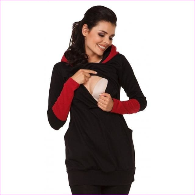 Maternity Pregnant Women Nursing Long Sleeve Breastfeeding Hoodie Autumn Winter Tops Jumper Top Pullover Casual Sweatshirts 2XL - Black / S